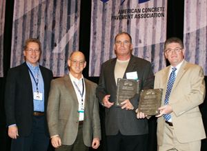 Shown above( left to right): Mark B. Snyder, P.E., PhD, Vice-President, ACPA Pennsylvania Chapter; Michael Shayeson, President, The Harper Company, & ACPA Chairman of the Board of Directors; Jim Crowley, Golden Triangle Construction Company, Inc. John M. Becker, P.E., President, ACPA Pennsylvania Chapter